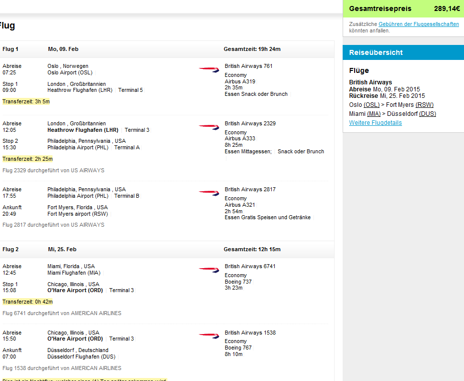 Cheap open jaw flights to Florida from Europe from €289!