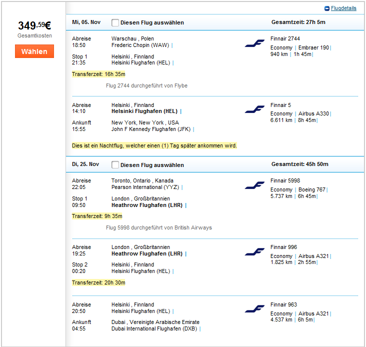 Open-jaw flights to New York, Toronto and Dubai at once from €309!!