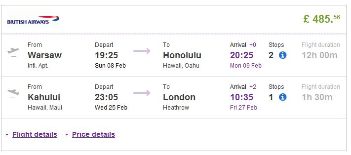 Cheap flights to Honolulu Hawaii USA return London UK best travel deals 2014-2015 British Airways promotion