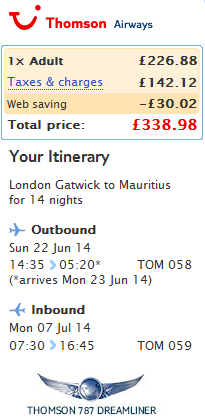 Cheap roundtrip flights to Mauritius from London Ł339 (€412)!