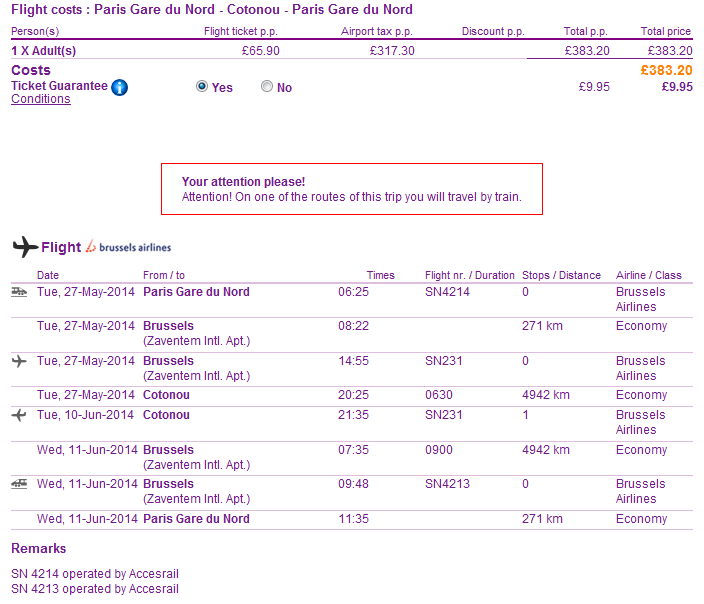 Cheap roundtrip flights from London to Benin
