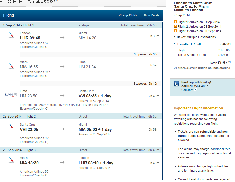 Multi city flights to Bolivia & USA (New York, Miami) from London Ł560!
