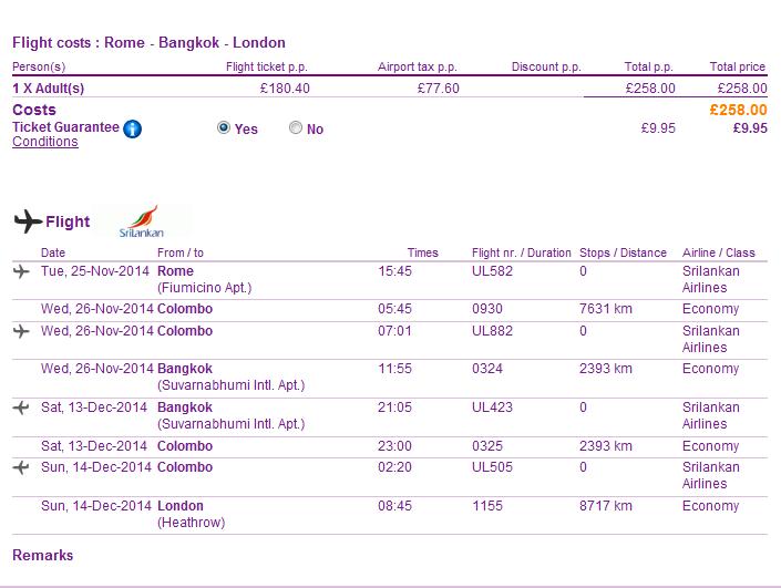 Tips for cheap open-jaw flights to Bangkok Thailand Asia return London UK best travel deals 2014 Sri Lankan promotion
