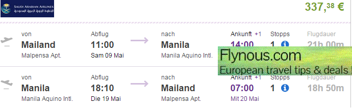 Saudia - Flights to Manila, Philippines from Europe from €337!