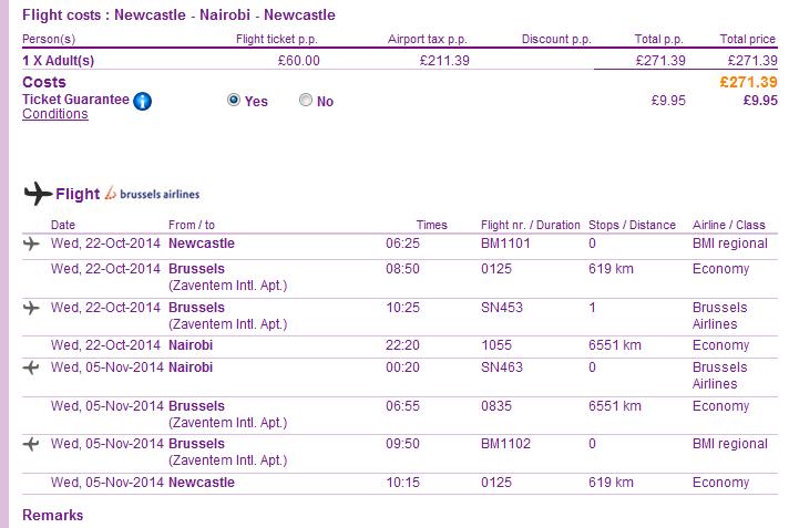 Cheap return flights to Nairob,Kenya from UK from Ł271!