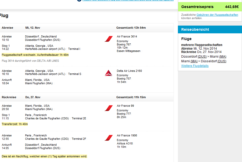 AF/KLM: Cheap flights to USA (New York, Miami) from Germany from €443!