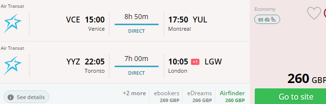 Cheap open-jaw flights to Canada with Air Transat from £260!