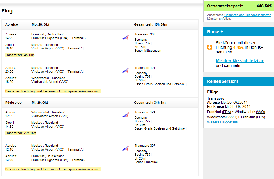 Return flights to Vladivostok, Russia from Germany from €448!