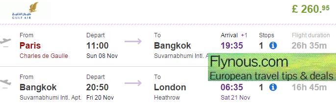 Gulf Air: Open-jaw flights Paris - Bangkok - London for £261!