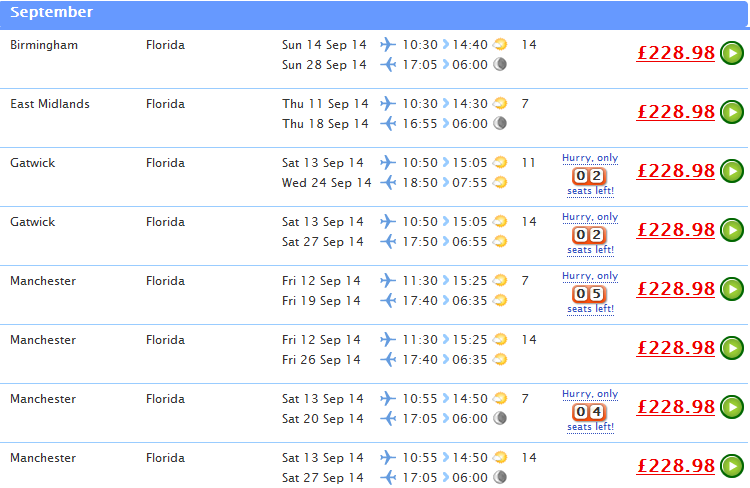 Cheap tickets to florida from london