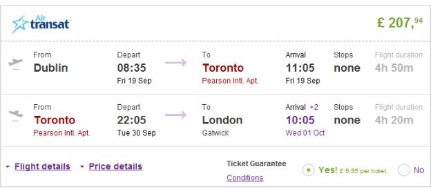 Cheap open jaw flights to Toronto (return UK) from Ł208 (€263)!!