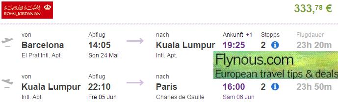 Open-jaw flights to Hong Kong or Kuala Lumpur (+Bangkok) from €333!