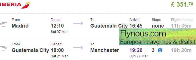 Central America - cheap flights Madrid - Guatemala/El Salvador - UK Ł352!