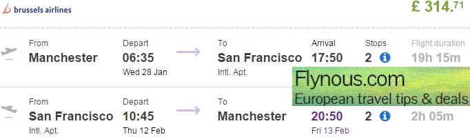 Return flights from UK to San Francisco from Ł315 (€406)!