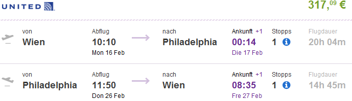 Return flights from Vienna to various North America cities from €317!