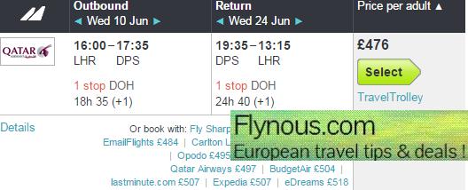 Qatar Airways - cheap return flights to Bali from €505/Ł496! (main season)