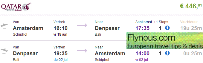 Qatar Airways - cheap return flights to Bali from €469/Ł476! (main season)