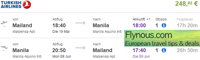 Hot! Return and open jaw flights to Philippines from Europe from €249!