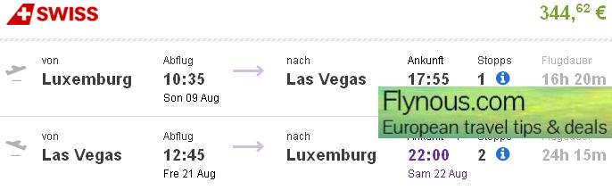 Flights to Las Vegas, New York,  Miami etc. from Lux from €344! (summer 2015)