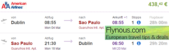 Multi city flights to New York and Brazil from Europe from €438! (including summer 2015!)