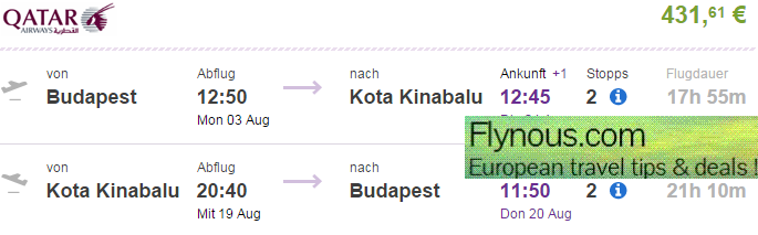 Return flights from Europe to Borneo including summer holidays from €431!