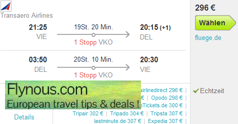 India - return flights to New Delhi or Mumbai from Europe from €296!