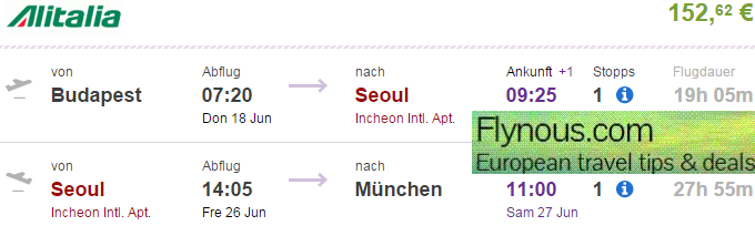 Error fare flights from Europe to South Korea from €152!