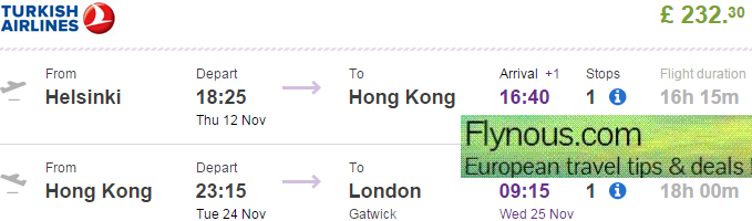 Open-jaw and return flights to Hong Kong from Europe from €319 / £232!