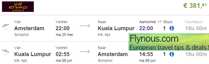 Cheap return flights to Kuala Lumpur from Europe from €393!