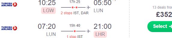 Cheap return flights from London to Zambia £352!