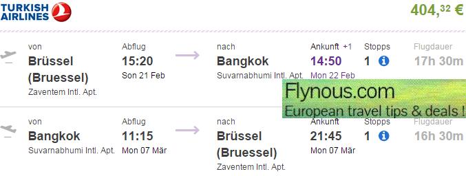 Return flights to Bangkok from €404! (main season 2015/2016)