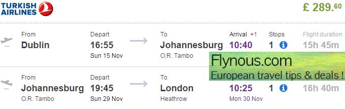 Cheap flights to Johannesburg (return or open-jaw tickets) €403/£289!