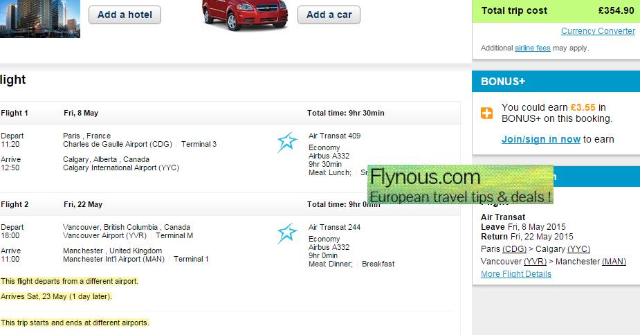 Open-jaw flights Paris - Vancouver/Calgary - UK for £355!