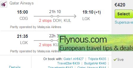 Cheap return flights to Langkawi/Penang from €420 (main season 2016)!