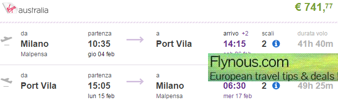 Polynesia: Return flights from Italy to exotic Vanuatu from €742 / £559!