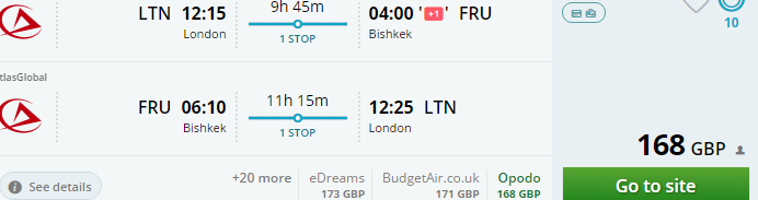 Cheap return flights from London to Kyrgyzstan from £168!