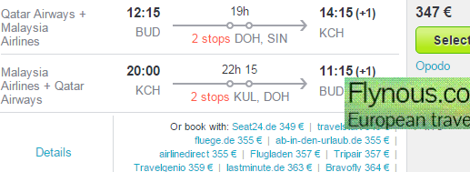 Return flights to Borneo from Europe from €365 or £434!