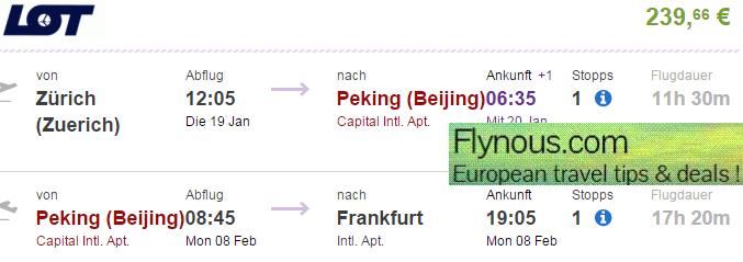 Open-jaw flights Zurich - Beijing - London/Germany/Benelux from €240!
