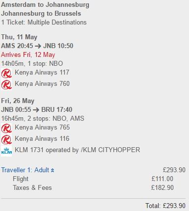 Cheap open jaw flights to South Africa from Europe €336 (£