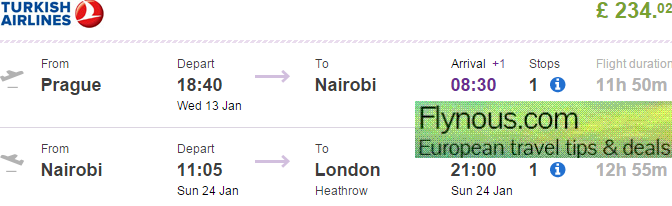Turkish Airlines: open jaw flights Prague - Kenya - UK from £234!