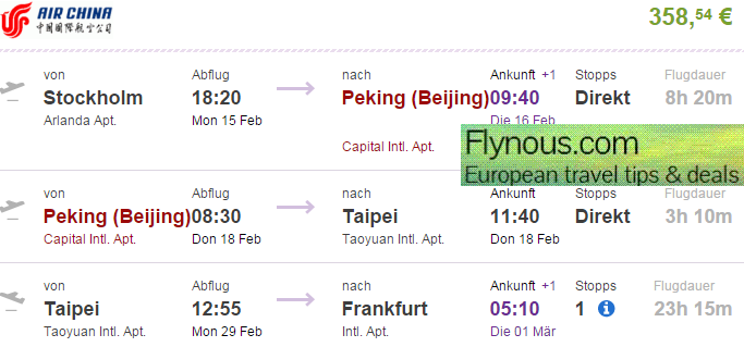 Cheap open jaw flights to Taiwan (+China) from Europe from €358!
