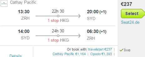 Error fare flights to Australia from Zurich from €237!