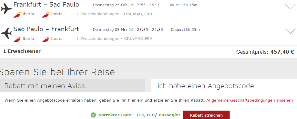 Iberia promotion code 2015 - 20% off all flights from Germany!