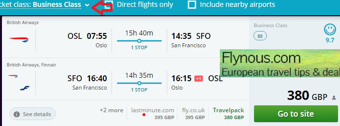 Error fare Business class flights to San Francisco for €554/£383!
