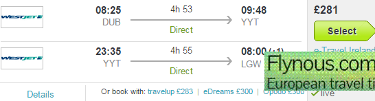 Direct flights to Canada from £281/€388 (summer holidays 2016!)