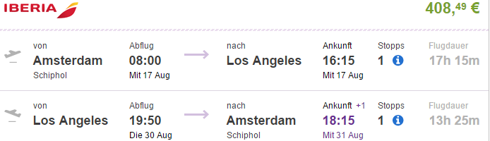 Return flights from Amsterdam/Paris to California €408 & up..