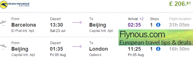 Cheap open jaw flights from Europe to China (Beijing) £207/€300!