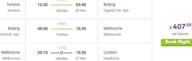 Cheap multi-city open jaw flights to Australia & China £408/€508!