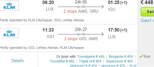 Return flights from Europe to Iguazu Falls (Brazil) from £368/€448!