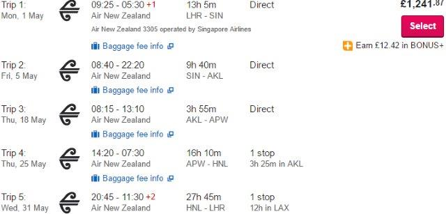 Rtw Flights From Uk To Singapore New Zealand Samoa Cook Islands Or French Polynesia Hawaii 1190
